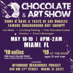 art, arte, chocolate and art show miami, miami, art events, art events in miami, miami art scene, miami art events, wynwood warehouse project, contemporary art, street art, street artists, emerging artists in miami, body painting, art in miami, art fundraiser, artists for trauma, art lovers, art collectors, wynwood, wynwood arts district, street art, food trucks in miami, live music